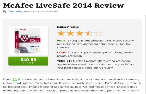 McAfee LiveSafe 2014 Review